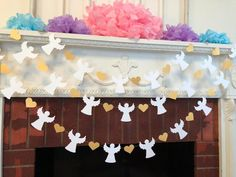 Heaven Sent Baby Shower Garland Gold & White Baptism Angel