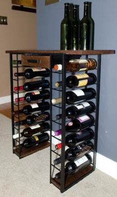 Love this wine rack - customizable, hand-made, steel + wood