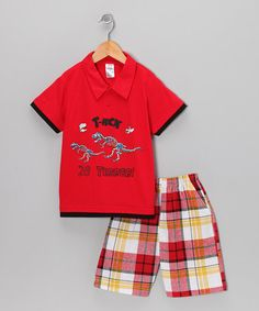 Take a look at this Red Dino Polo & Plaid Shorts - Infant & Boys by G Relations on #zulily today!