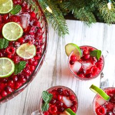 Delight your friends and family with this bright and colorful Holiday Punch. The cranberries raspberries lime and mint flavors create a festive and flavorful drink your guests will love! Holiday Punch, Holiday Drinks, Holiday Recipes, Great Recipes, Popular Recipes, Christmas Recipes, Favorite Recipes, New Year's Desserts, Cute Desserts