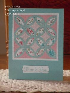 handmade card: Bitten by the Quilt Card Bug!! by JJ Rubberduck ... pastel blue and pinks ... lattice die makes quick work for this pieced quilt ... lattice texture from embossing folder ... lovely in these soft colors ...