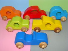 Colorful Wood Toy Cars