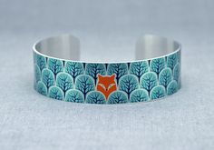 Fox jewellery cuff bracelet, brushed silver metal bangle, fox lover gift. B471 £15.00