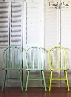 Painted Chairs | Colours shown L to R turquoise Martha Stewart Yucca Plant, aqua Martha Stewart Sea Glass, lime green Glidden Granny Smith