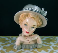 Vintage Relpo Hat Lady Headvase❤ ❤ ❤ Ceramic Lady Heads, Mini Vase, Glass Dolls, Vases, Head Planters, Hat Stands, Half Dolls, Vintage Planters, Head Shapes