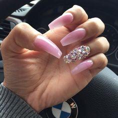 Baby pink nails acrylic, pink bling nails, rhinestone nails, fancy nails, j Baby Pink Nails Acrylic, Pink Bling Nails, Rhinestone Nails, Fancy Nails, Pretty Nails, Long Nail Designs, Acrylic Nail Designs, Art Designs, Acrylic Nail Art