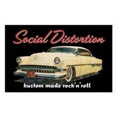Rock out with this Social Distortion Car Magnet! This product is a magnet with Social Distortion Kustom Made Rock 'n Roll logo on classic car with Skelly hood ornament.