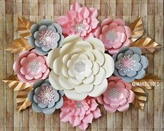 Paper Flowers Paper Flower Backdrop Paper Flower Set Pink &