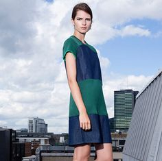 denim jersey dress / oversized dress / panelled dress / women