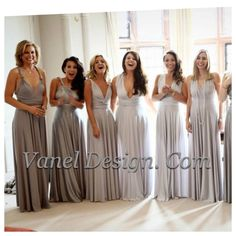Grey Silver Bridesmaid Dress One Dress Endless by VanelDesign