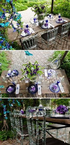 Purples, blues and greens all work together with glowing white accents to make this wedding design shine!