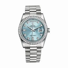 #Rolex Day-Date Platinum #Watch (Ice Blue Set with #Diamonds)