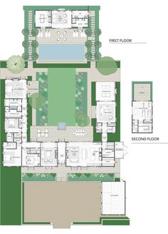 6 Bedroom House Plans, House Plans Mansion, House Floor Plans, House Layout Plans, House Layouts, Villas, Affordable House Plans, Johnson House, Internal Courtyard