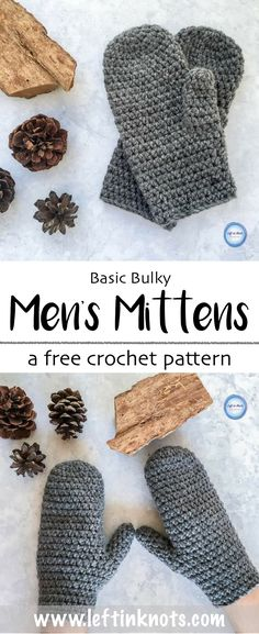 This fast and free crochet mitten pattern is perfect for any men in your life!  This beginner-friendly pattern works up quickly using a bulky acrylic yarn, and it is also easily adjustable in size.  The Basic Bulky Men's Mittens pattern is the new free crochet pattern on my blog and a great last minute stocking stuffer! #crochet #freecrochetpattern #crochetmittens