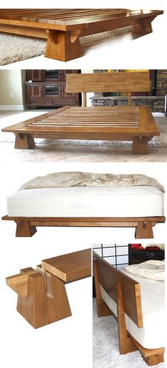Platform Beds - Low Platform Beds, Japanese Solid Wood Bed Frame