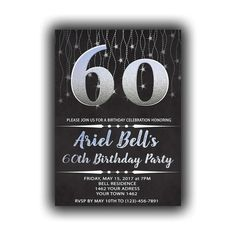 CUSTOM Silver Happy Birthday 60th Invitations Chalkboard