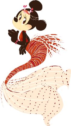 Little Red Mousemaid (Minnie as a Lionfish Mermaid) by cici-chi Mickey Mouse And Friends, Mickey Minnie Mouse, Disney Mickey, Disney Pixar, Disney Characters, Disney Dream, Disney Love, Disney Magic, Disney Stuff