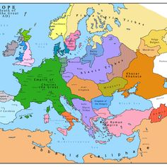 Europe after the death of Charles the Great, 814 AD. - Europe after the death of Charles the Great, - Historical Times World History Map, European History, Ancient History, European Tribes, European Map, Carolingian, Historical Maps, Old Maps, History Facts