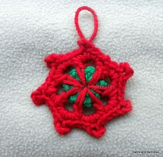 Swirls and Sprinkles: Free crochet snowflake ornament pattern