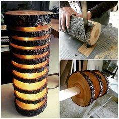 Beautiful #lamp out of #wood #log #design #upcycled #diy @idlights