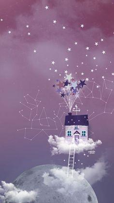 Aujourd'hui un nouveau fond d'écran inspiré par le dessin animé « Là-h. Cute Wallpaper For Phone, Cellphone Wallpaper, Disney Wallpaper, Cool Wallpaper, Phone Backgrounds, Wallpaper Backgrounds, Constellations, Illustration, Cute Wallpapers