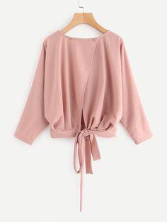 Shop Overlap Tie Back Sweatshirt online. SheIn offers Overlap Tie Back Sweatshirt & more to fit your fashionable needs. Teen Fashion Outfits, Cute Fashion, Fashion Dresses, Hijab Outfit, Muslim Fashion, Hijab Fashion, Blouse Styles, Blouse Designs, Jugend Mode Outfits