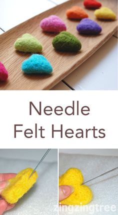 How To Make Cute And Colourful Needle Felt Hearts Needle felt heart are., How To Make Cute And Colourful Needle Felt Hearts Needle felt heart are easier than you think to make and this tutorial shows you just how to. Felt Crafts Diy, Felted Wool Crafts, Fabric Crafts, Crafts To Make, Clay Crafts, Wood Crafts, Needle Felting Tutorials, Needle Felting Kits, Needle Felted Animals
