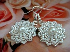 Beadwork Peyote Flower Earrings in White and by MadeByKatarina