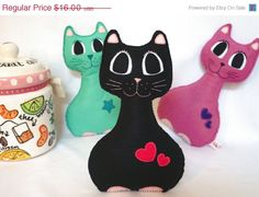 ON SALE Black Soft Kitty Cat  Soft Toy Stuffed Toy by LilyRazz