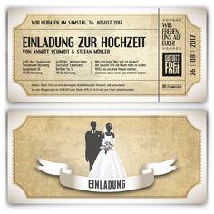 Hochzeitskarten - Vintage Brautpaar in Weiß #hochzeit #einladung #hochzeitseinladung #invitation #vintage #wedding #whitewedding #ticket