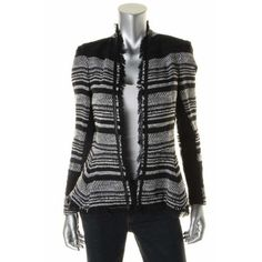 Rebecca Taylor 5052 Womens B w Tweed Leather Trim Long Sleeves Jacket 2 BHFO   eBay