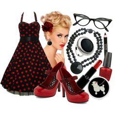 """Retro Polka-Dots"" by lunachick on Polyvore"