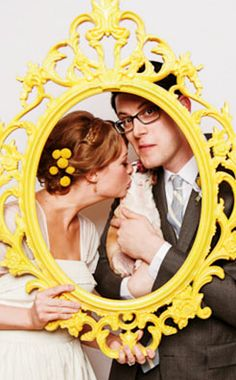 frame photo op prop booth inspiration yellow wedding