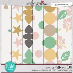 Louisa Patterns commercial use pattern paper templates from Ousia Studio. This pretty set includes six patterns in layered PSD and TIF formats for commercial or personal use. Add these polka dots, stars and other patterns to your designer resources stash today.