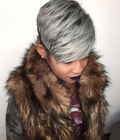 Short Haircuts: Fierce gray pixie via blackhairinformat Short Sassy Hair, Short Grey Hair, Short Hair Cuts, Short Hair Styles, Pixie Cuts, Silver Grey Hair, Black Hair, Peinados Pin Up, Rides Front