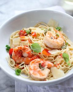 Fresh tomatoes, garlic, and basil bring summertime flavors to a classic dinner of Shrimp Scampi Pasta. Summer Pasta Recipes, Fish Recipes, Seafood Recipes, Dinner Recipes, Cooking Recipes, Healthy Recipes, Shrimp Dishes, Pasta Dishes, Italian Dishes