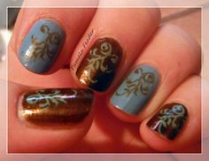 My nail Stamping art, Stamp: XL-T, Polish: Orly Buried Alive & Orly Snowcone