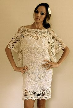 table cloths sewn into crochet lace flapper dress from www.trashtocouture.blogspot.com