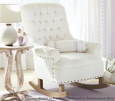 Shop rocker from Pottery Barn Kids. Find expertly crafted kids and baby furniture, decor and accessories, including a variety of rocker. Baby Nursery Diy, Girl Nursery, Girl Room, Nursery Ideas, Diy Baby, Baby Room, Pottery Barn Kids, Pottery Barn Nursery, Chair And Ottoman