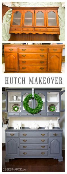 Gray Painted Hutch Makeover That Made Me Cry. Chalk painted furniture. Painted dining room hutch. Gray chalk paint. Furniture makeovers before and after. #refinishedfurniture #graypaintedfurniture