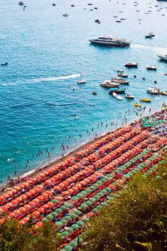 Colourful beach umbrellas lined up in Positano, Amalfi Coast, Italy Oh The Places You'll Go, Places To Travel, Places To Visit, Naples, Amalfi Italy, Costa Amalfi, Almafi Coast, Summer Vibes, Monaco