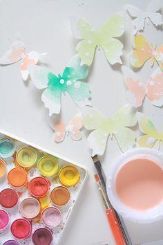 watercolor butterflies / butterfly die cuts painted