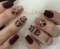 Perfect for glam autumn :) Creative Nail Designs, Pretty Nail Designs, Creative Nails, Nail Art Designs, Beautiful Nail Art, Gorgeous Nails, Cute Nails, Pretty Nails, Gel Nails