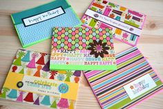 5 Birthday Cards- Colorful