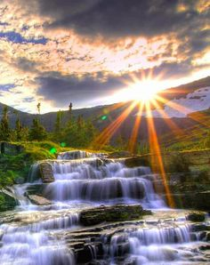 Sunrise and beautiful waterfall