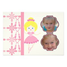 You can easily add your child's photos and birthday party or dance recital information to our ballerina theme invitations before ordering. Pretty in pink, a blond haired ballerina on a cream colored background with easy to customize areas makes this a dance theme favorite both for birthday invitations or dance recital invitations! #dances #ballerinas #ballet #birthdays #recitals #custom #add #photo #customized #personalized #peacockcards #kids #girls #little #ballerina