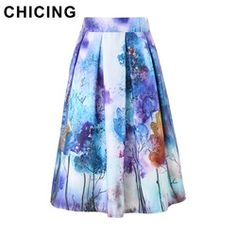 Online Shop CHICING New 2015 Village Abstract Watercolor Tie Dye Mixed Painting Prints Pleated Midi Skater Summer Style Tutu Skirts A1506022|Aliexpress Mobile