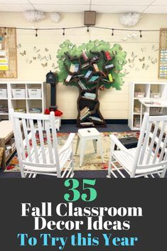 The best fall classroom decorations including the cutest fall bulletin board ideas, door decorations, cute signs and tons of DIY ideas. #classroomdecorations