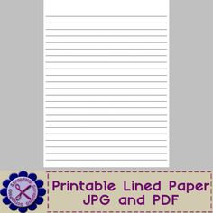 Blank Lined Paper Template - Printable JPG and PDF - It's Free! : ScrapPNG, Digital Craft Graphics