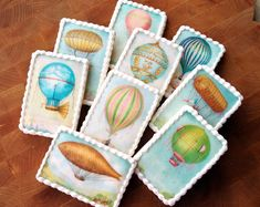 Vintage HOT AIR BALLOONS Wafer Papers for Cookies - Edible Images Airship Zeppelins by CookiePixie on Etsy